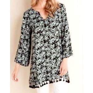 Soft Surroundings Belle Batik pattern Tassel Tunic